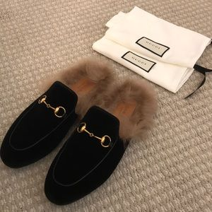 Authentic Gucci Princetown Fur Mule Slipper Loafer